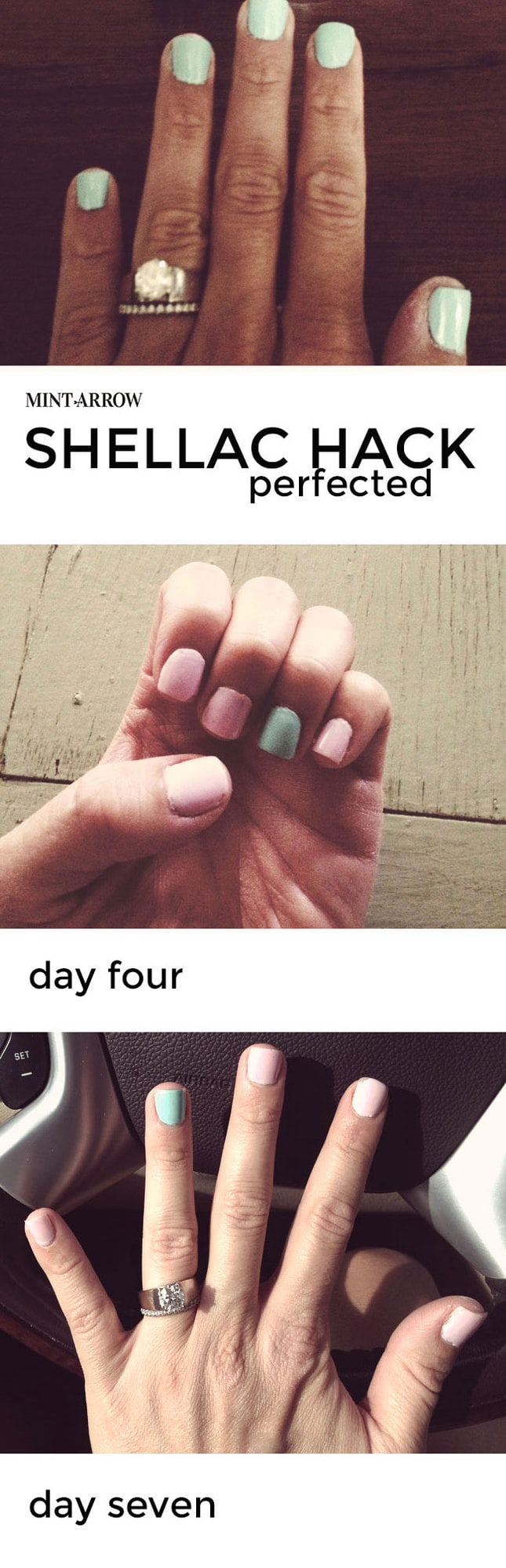 shellac hack - make your nail polish last a week! no curing light required, and it comes right off with nail polish remover.