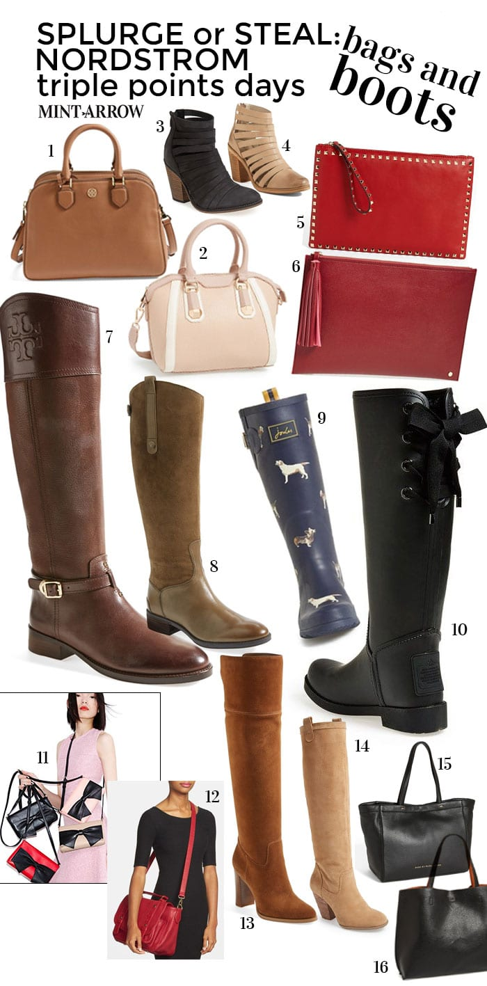 nordstrom triple points bags and boots