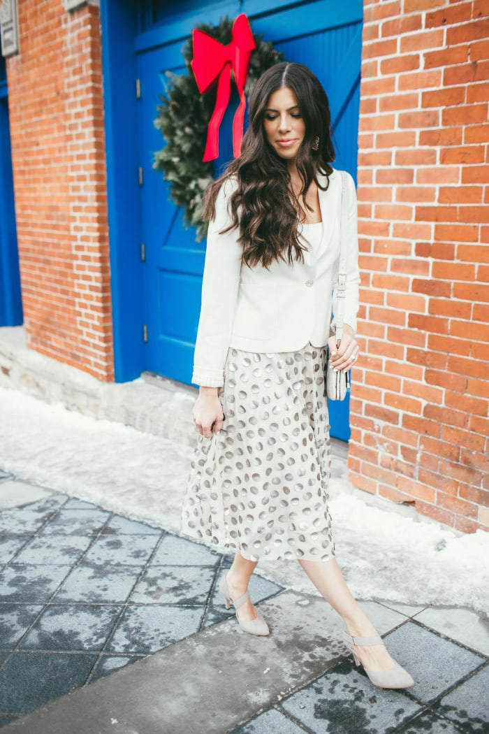 anthropologie shimmer dot skirt