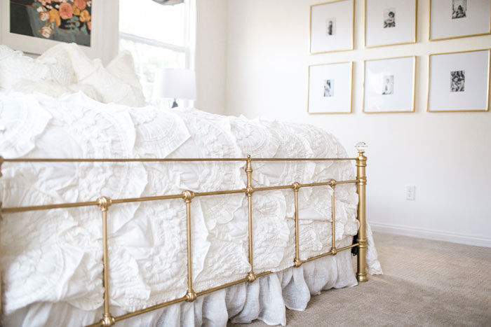 gold spray painted bedframe