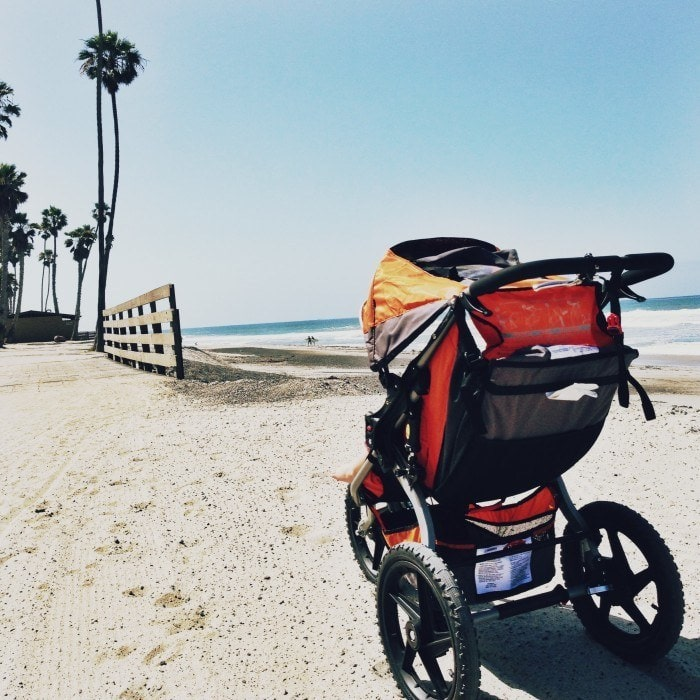 BOB stroller - the best running stroller ever! Take it on any rough terrain - sand, dirt, beach, mountains.