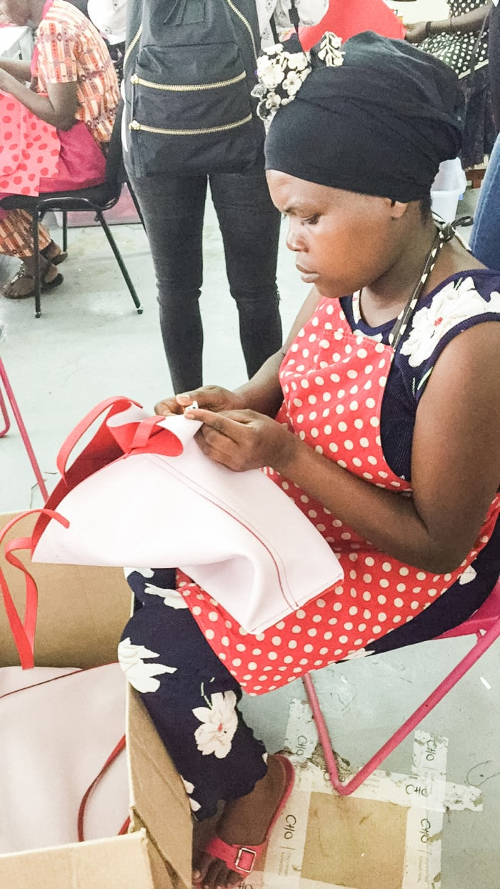 the ADC factory in Rwanda where women hand-make bags and accessories for the kate spade on purpose collection