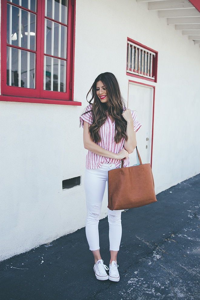 red striped top white pants