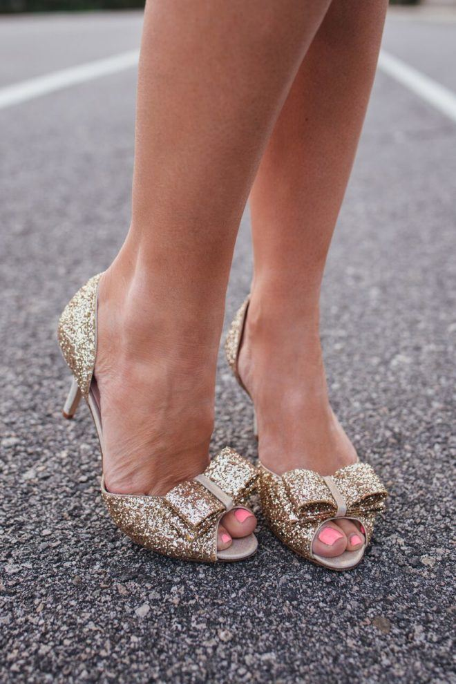 glitter bow shoes