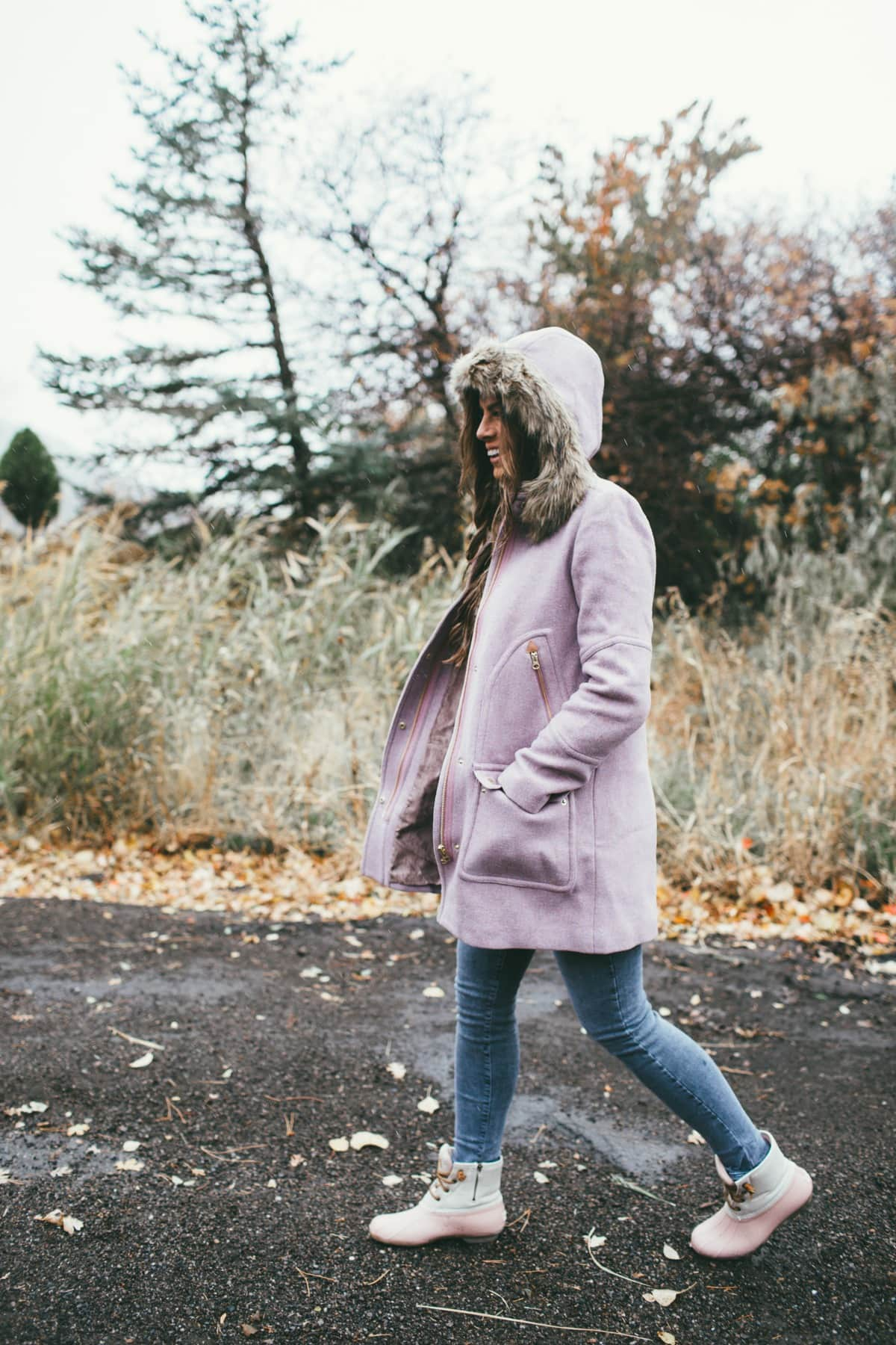 purple hooded coat jcrew