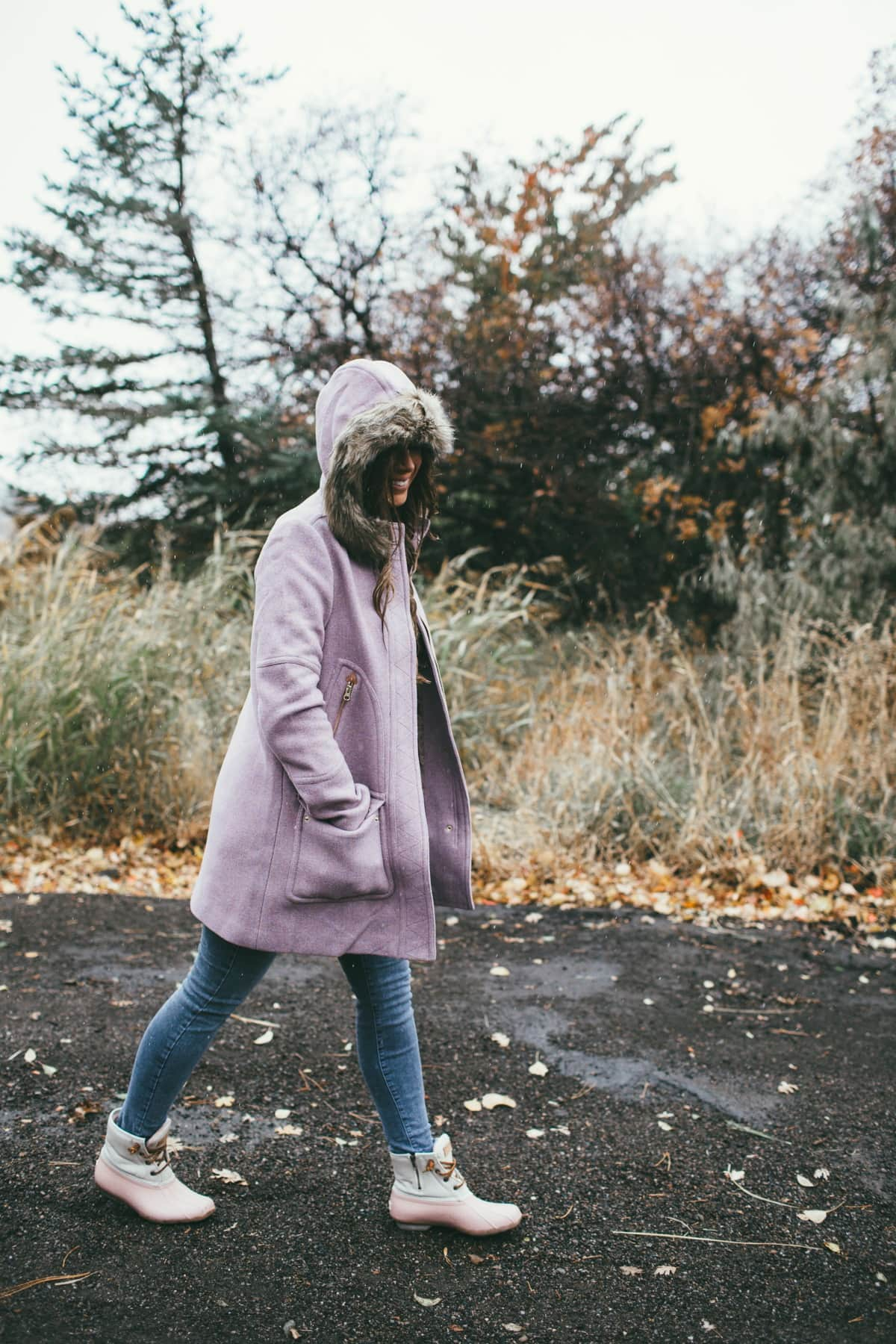 purple winter coat jcrew