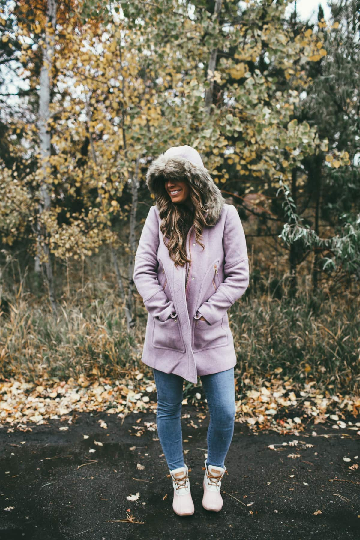 purple winter coat
