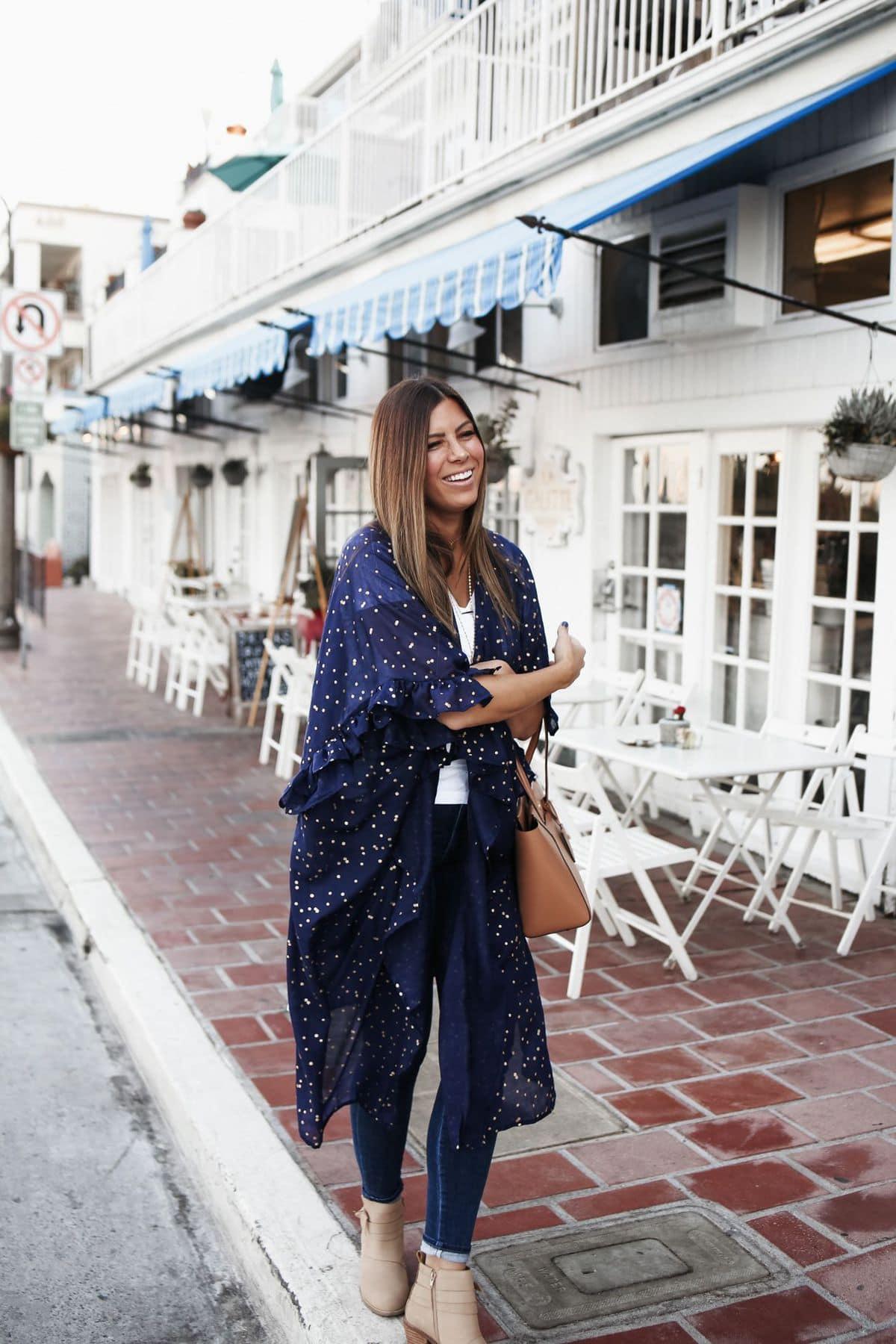 anthropologie blue kimono