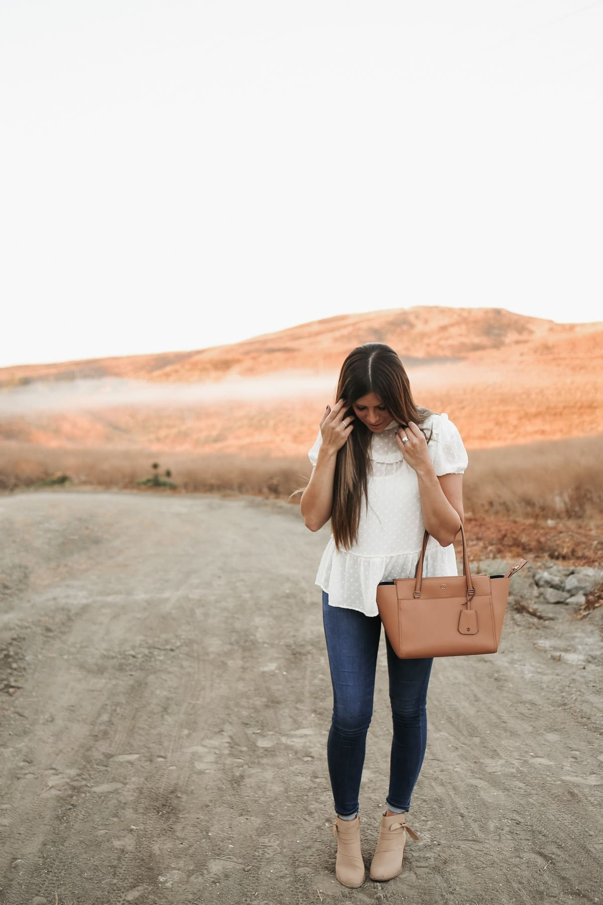 white fall textured top