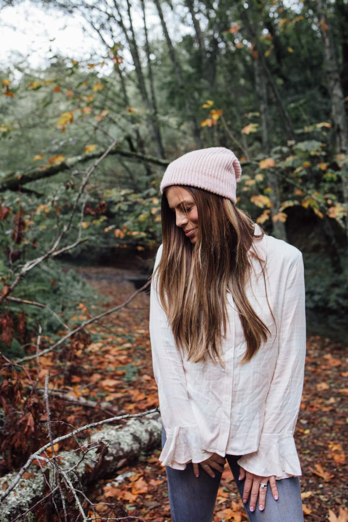 fall outfit Blush beanie