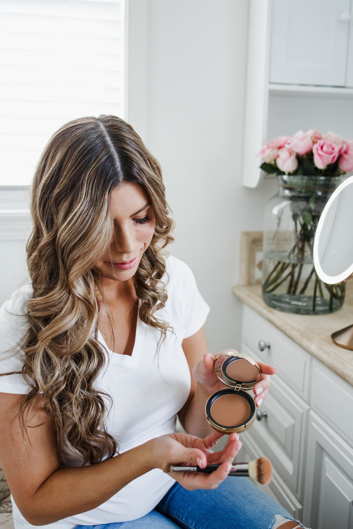 Too Faced Matte Bronzer and beach waves