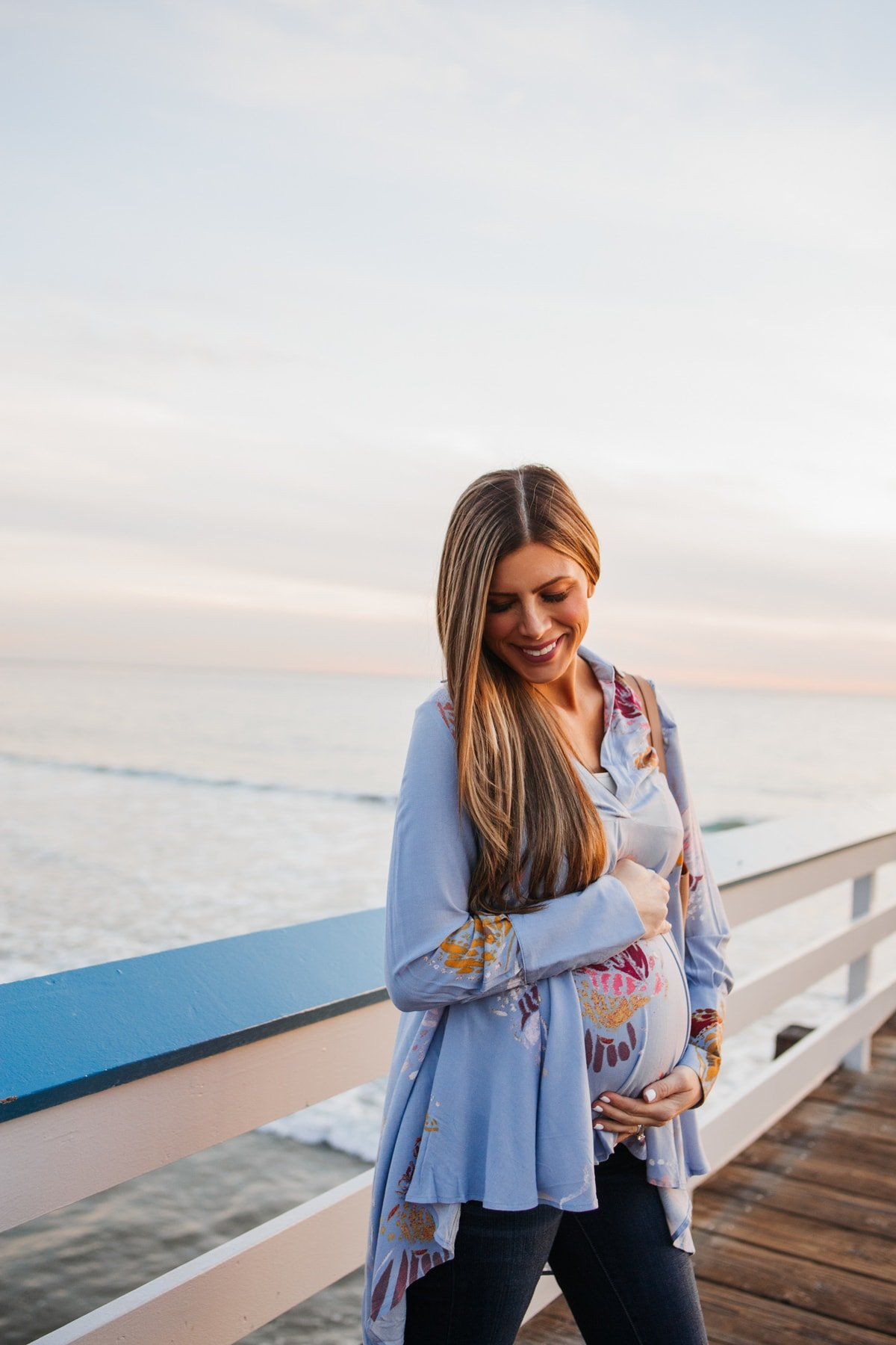 Bump-friendly blue flowy Tunic