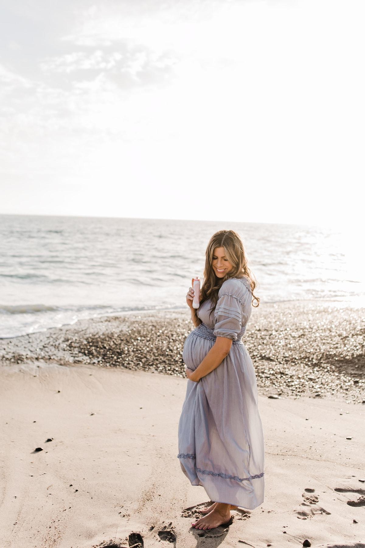 blue/white maxi dress