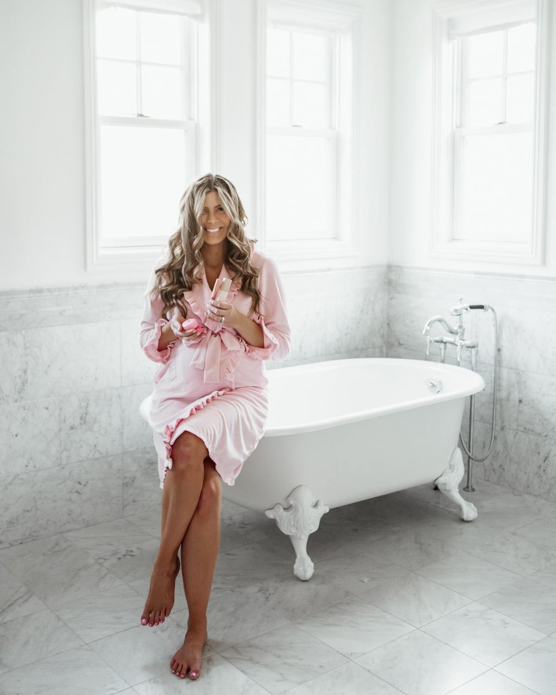 pink ruffle robe
