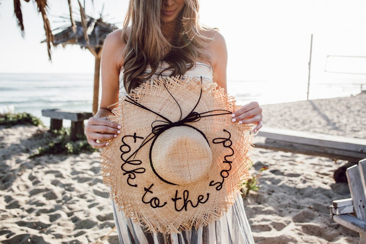 Frayed Edge Lettered Floppy Straw Hat