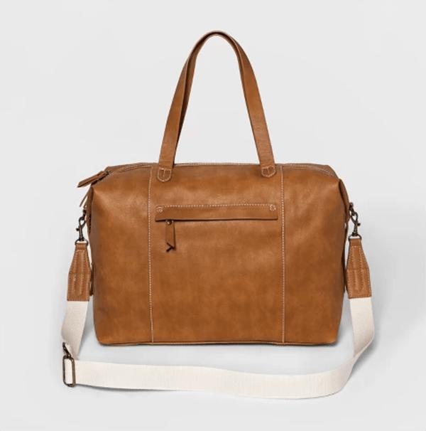 target leather weekender bag