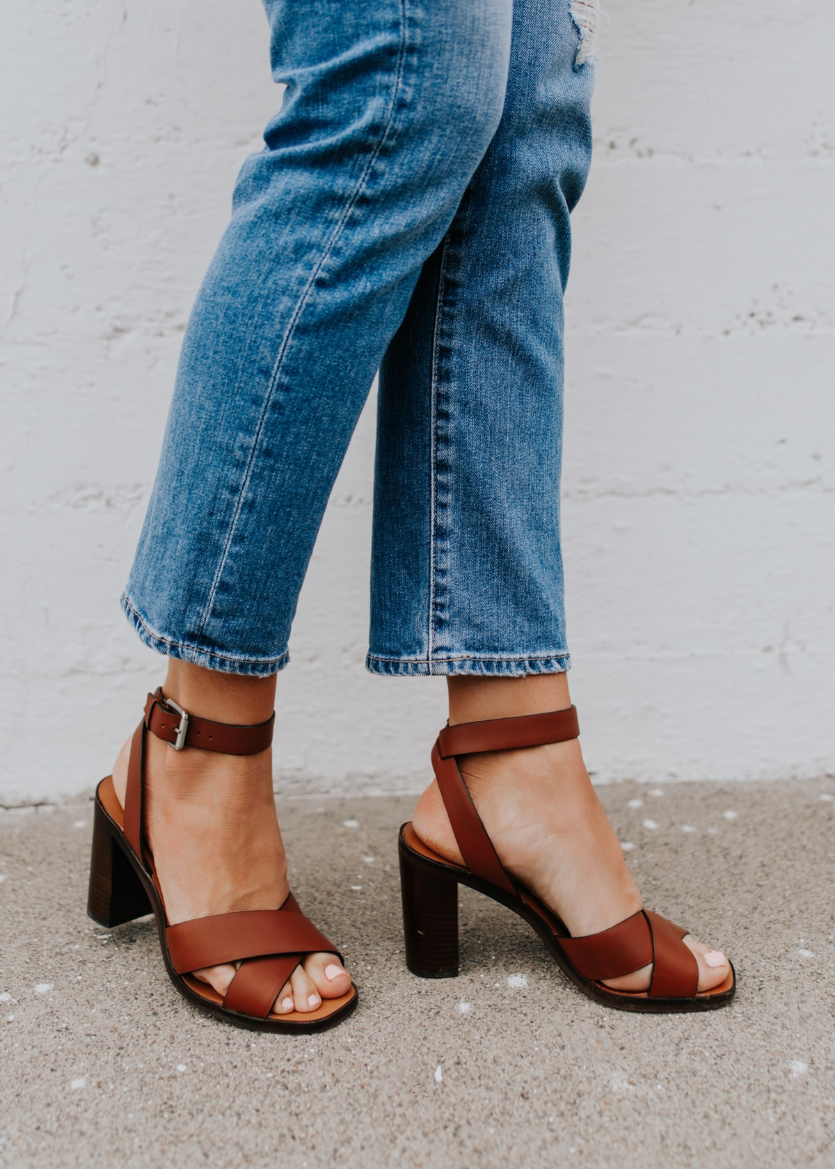comfortable brown block heel