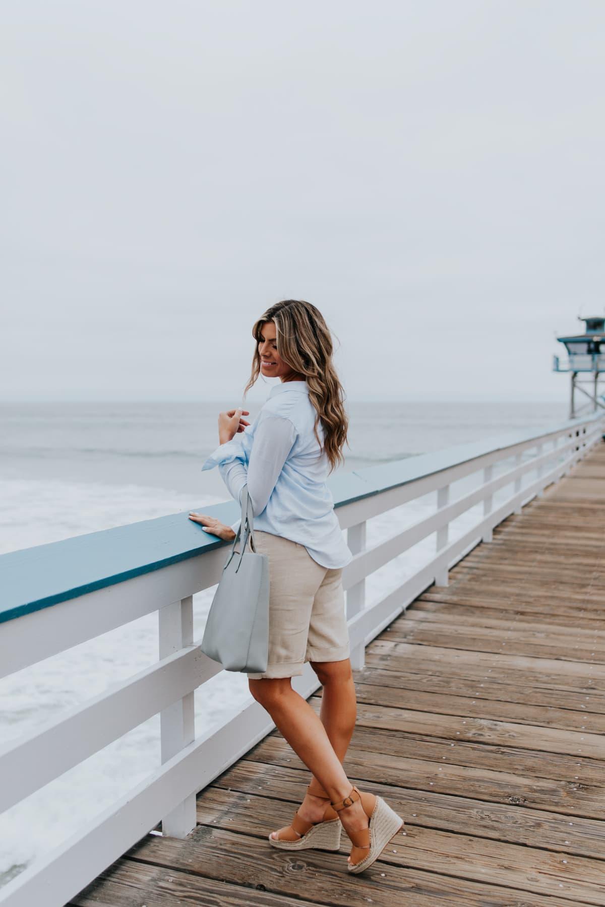 womens button down shirt with bermuda shorts