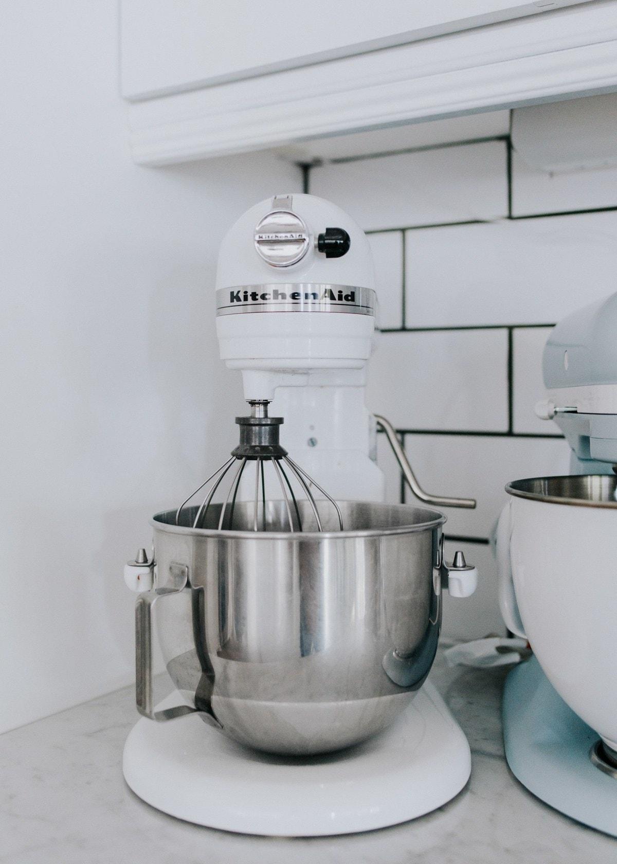 white kitchen aid mixer