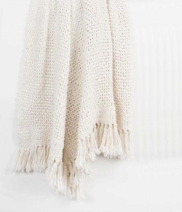 cream woven throw blanket