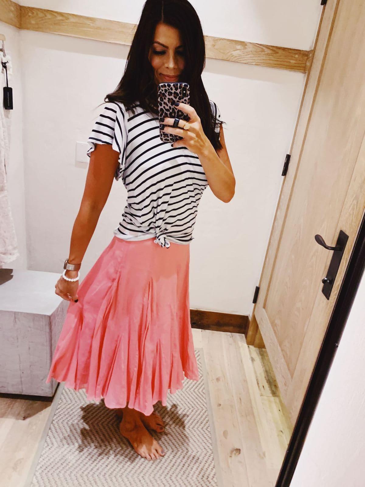 pink anthropologie skirt