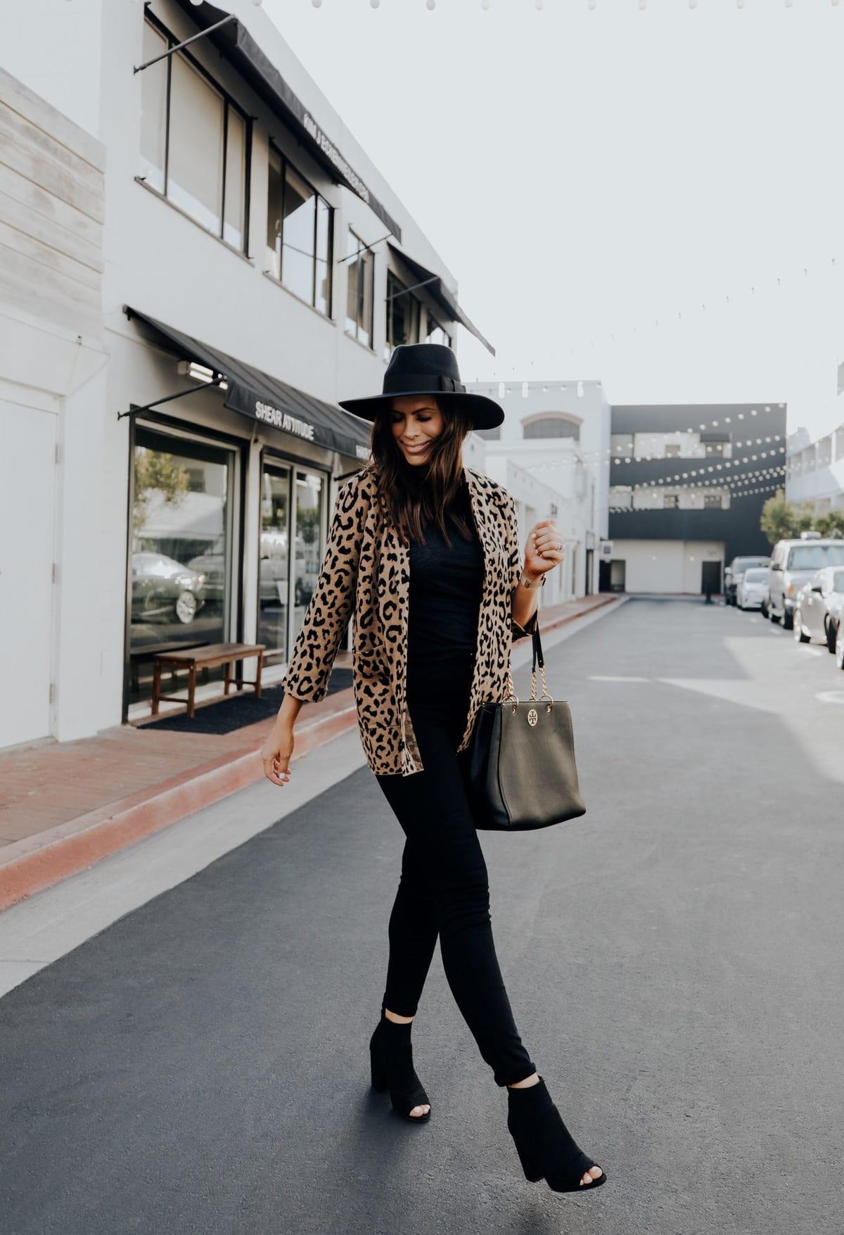 leopard print sweater blazer