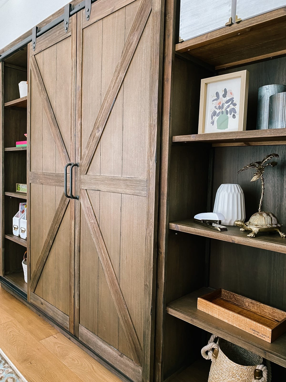 home office barn door bookcase