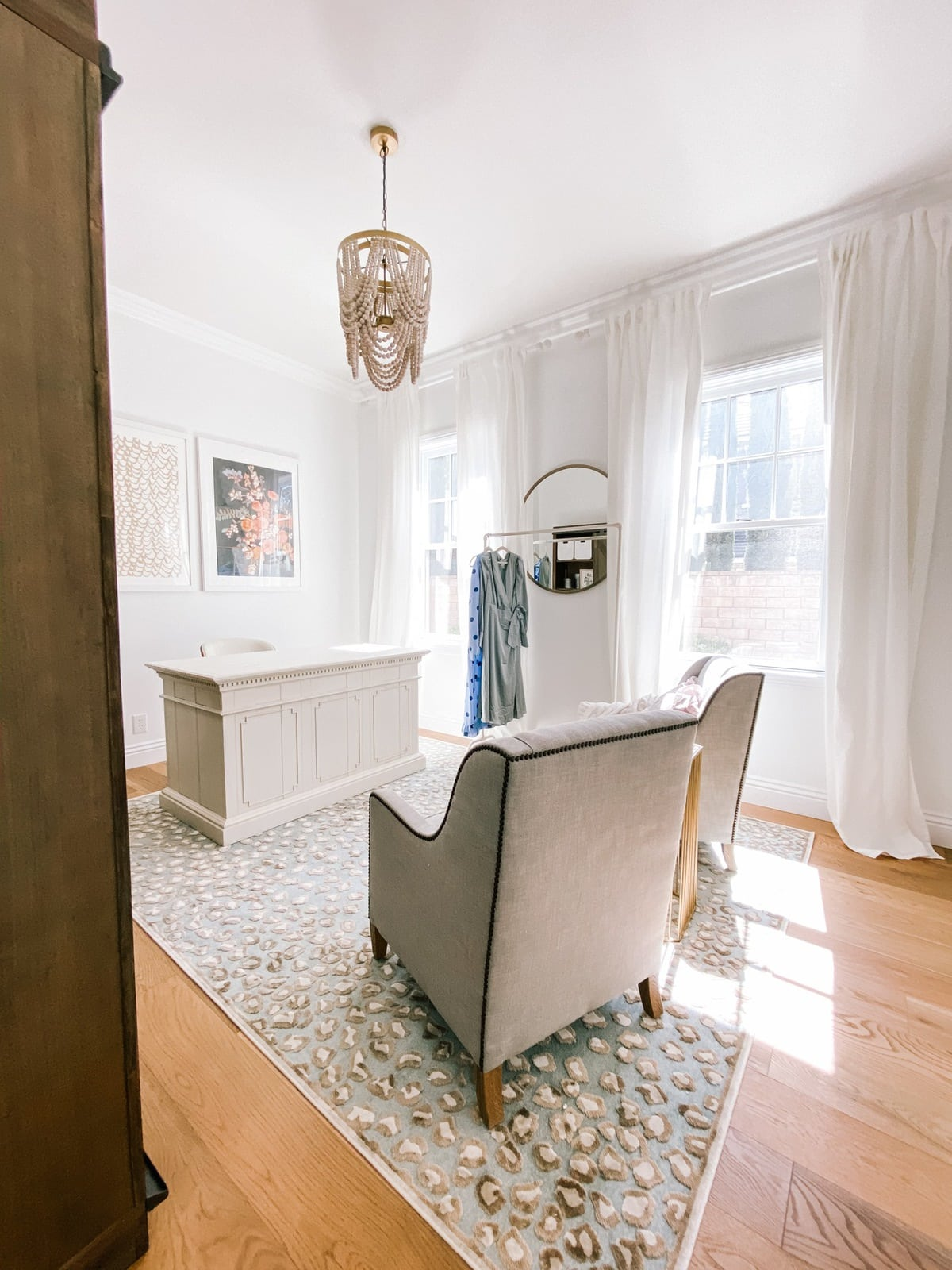 white sheer curtains office reveal