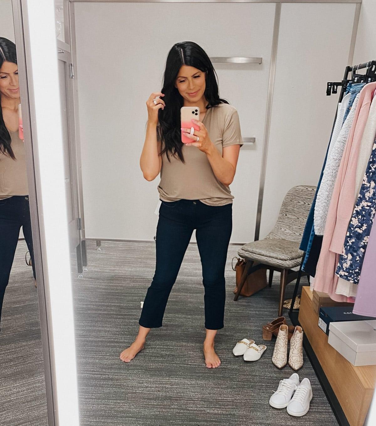 FRAME le crop high waisted jeans