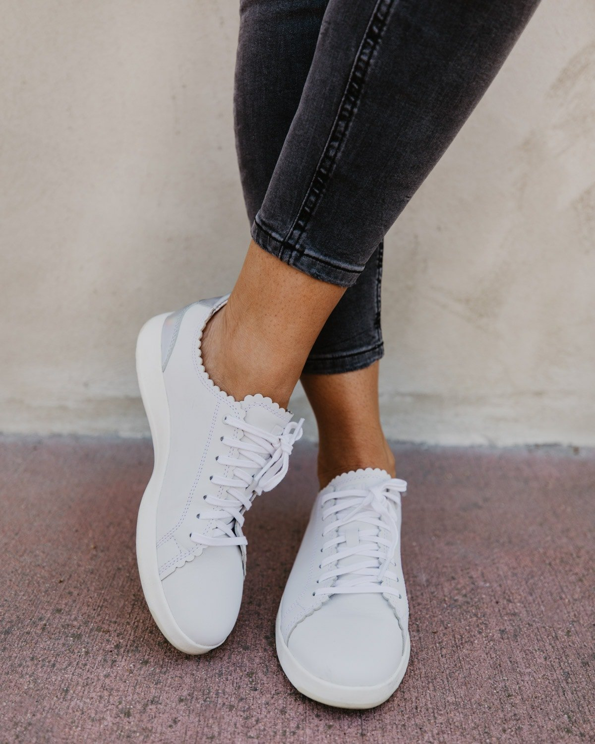 cole haan white sneakers scallop