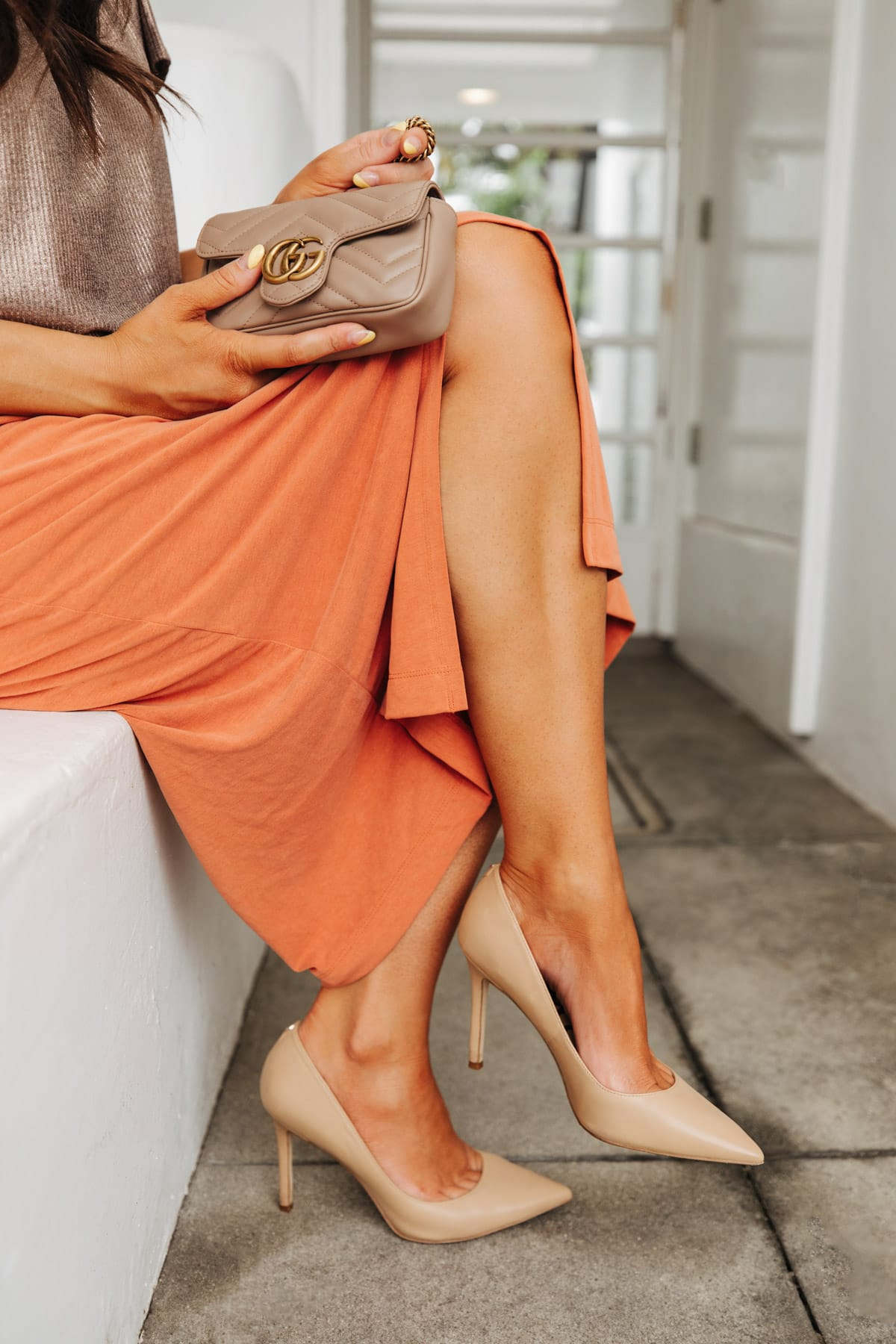 skirt outfit with sam edelman pumps