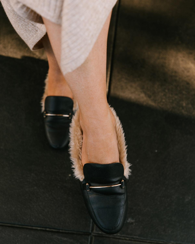 fur mule slides