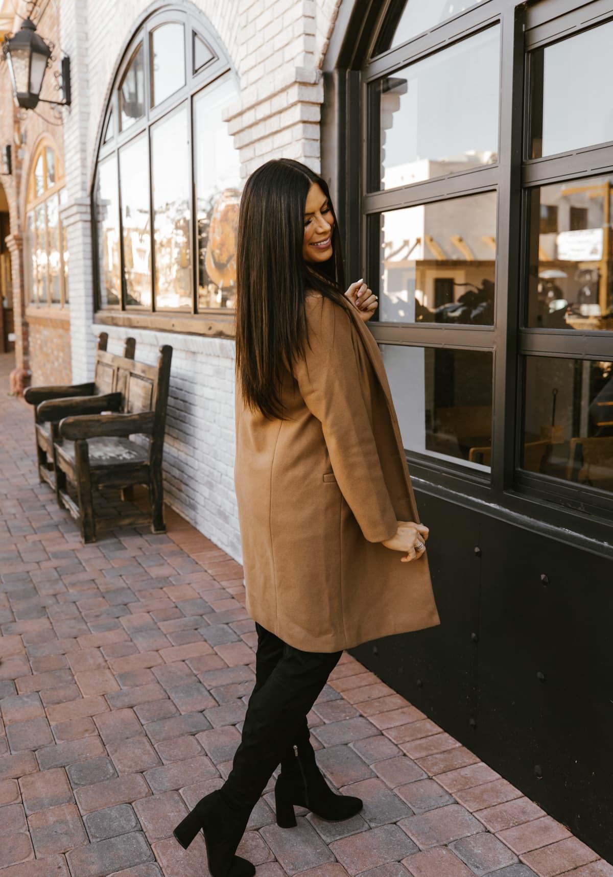 tan winter coat womens