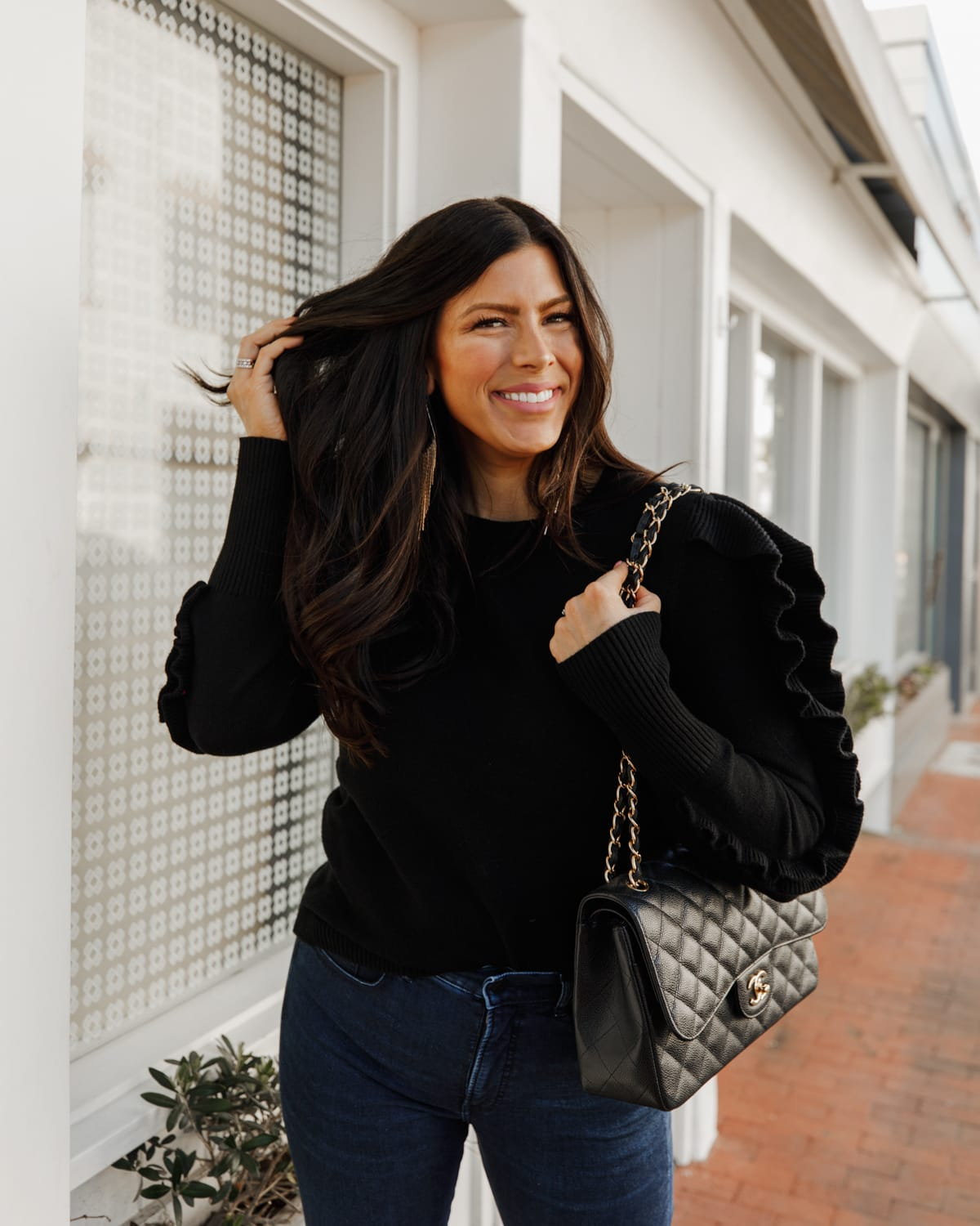 black ruffle sweater
