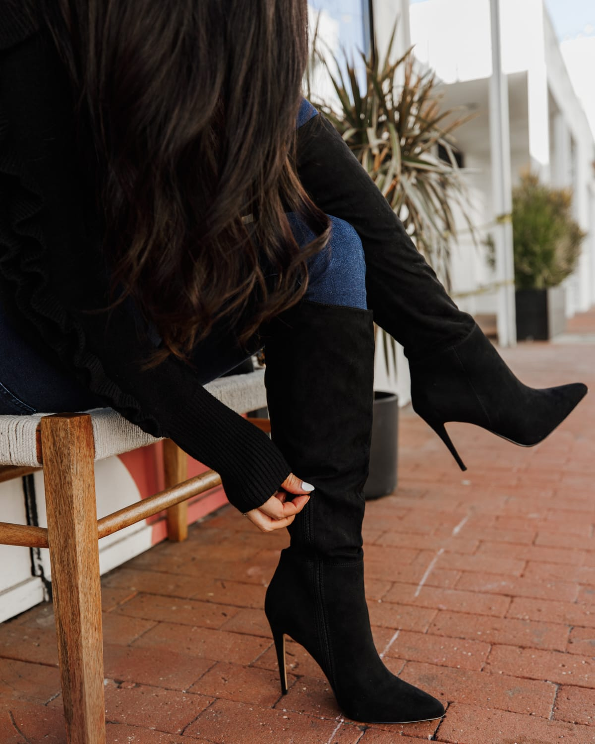 black Knee High Asymmetrical Shaft Boots express