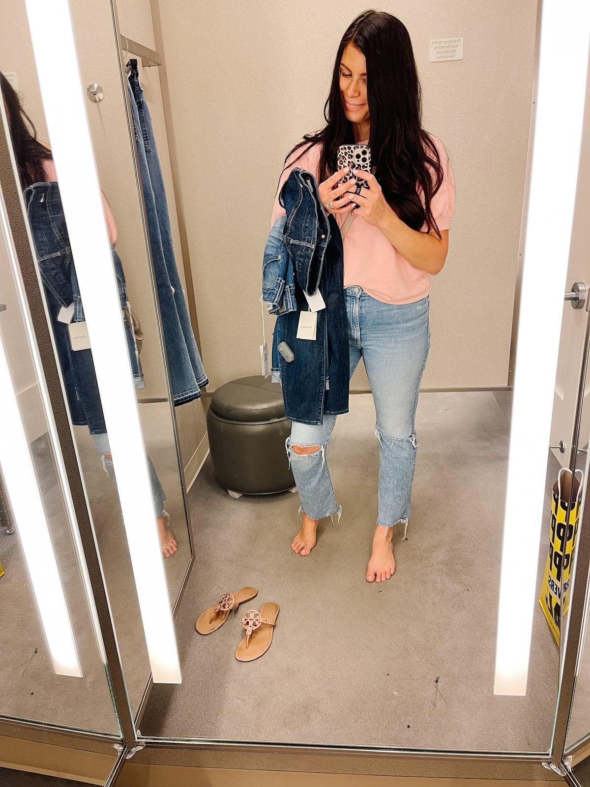 Mother Crop Step Fray Hem Jeans