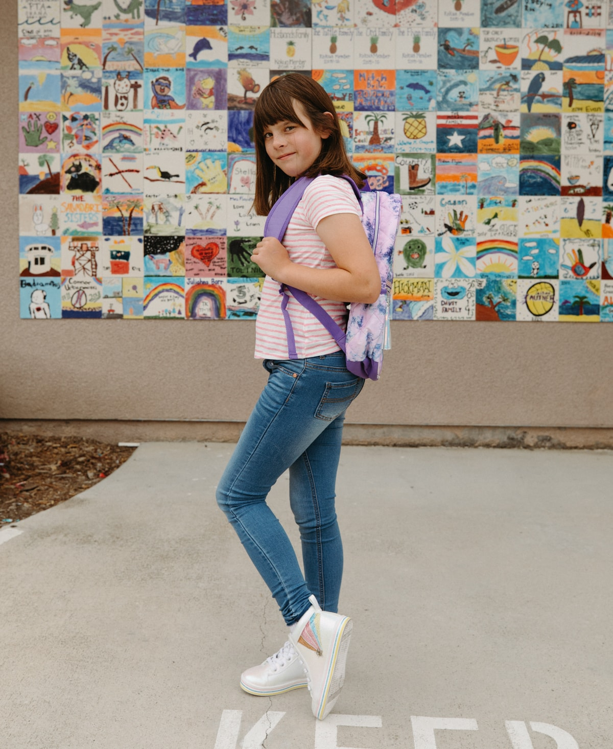 kids clothes and backpacks